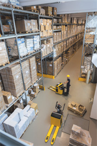 Warehouse with two forklifts